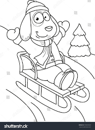 Coloring Page Outline Of Cartoon Dog With Sledge Vector Illustration Winters Book For