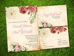 Rustic Elegant Wedding Invitations Matched With Beautiful Flowers Painting Decoration And Lovely Pink Wording Text