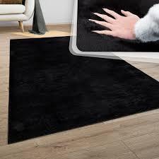 teppich wohnzimmer kunstfell plüsch hochflor shaggy soft waschbar in schwarz