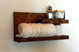 Wood Bathroom Shelves Wall Shelf Rustic Floating Towel Mounted