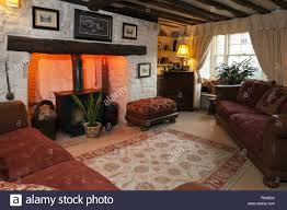 Cottage Livingroom A Cosy Cottage Living Room With Period Features Stock Photo
