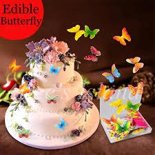 34 stücke 3d essbare schmetterling kuchen dekoration hochzeit geburtstag baby dusche kuchen idee dekoration kuchen essbare papier