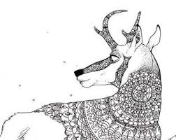 Printable Adult Coloring Page Mandala Pronghorn Antelope