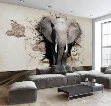 großhandel 3d kundengebundene tapete elefant wandbild tv