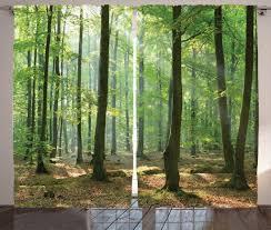 abakuhaus natur rustikaler gardine morgen wald bauernhaus schlafzimmer kräuselband vorhang mit schlaufen und haken 280 x 260 cm