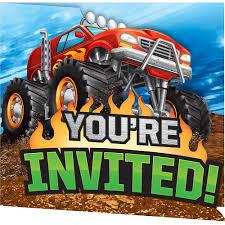 100 Monster Truck Decorations Invitations 8ct