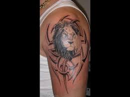Black And Grey Tribal Leo Tattoo On Left Half Sleeve