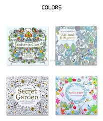 Adult Coloring Books 4 Designs Secret Garden Animal Kingdom Fantasy Dream Enchanted Forest 24 Pages Kids Painting Colouring Detailed