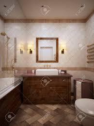 klassisches badezimmer mit holzmöbeln und wänden in beige fliese 3d übertragen