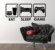 HWHD Eat Sleep Game Xbox Ps Wii Fans Childrens Bedroom Decal Wall Sticker Picture Free Shipping Ws124 In Stickers From Home Garden On Aliexpress