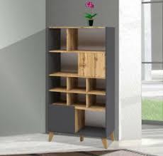 details zu standregal regal wohnzimmer bücherregal 81cm graphit wotan eiche 70336744
