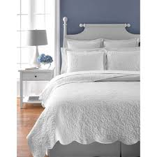 Martha Stewart Collection Whisper Leaves White Quilt