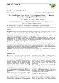 the emulsifying properties of terminalia randii baker f gum in