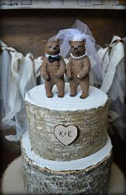 Bear Wedding Cake Topper Bears Lover Black Grizzley Brown Rustic Fall Kissing