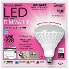 feit electric conserv energy dimmable br40 led 17 watt flood light