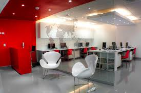Modern Red Travel Agency Office Interior Design Ideas With Elegant Unique Chair
