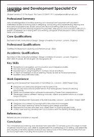 Corporate Trainer Resume Sample Learning And Development Specialist Training Samples