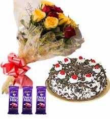 Send 10 Mixed Roses And 500 Black Forest Cake And Chocolate to Bally