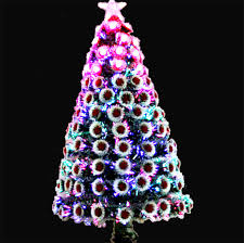Fiber Optic Christmas Tree 120cm All Red Lights With Fuzzy Balls Decorations And Metal Stand