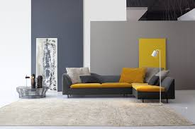 Baroque Double Recliner In Living Room Modern With Next To Gray Leather Couch Alongside Grey And Yellow