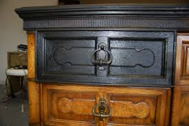 Credenza Refinished To Distressed Black With Gold Leaf Accent