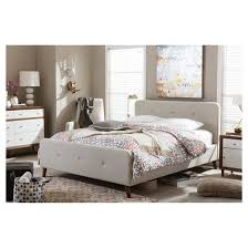 Baxton Studio Platform Bed by Laurio Mid Century Retro Modern Fabric Upholstered Platform Bed