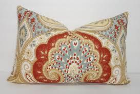 Decorative Lumbar Throw Pillows by Latika Kravet Circus Rust Blue U0026 Tan Decorative Linen Lumbar
