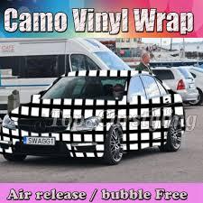 100 Camo Wrap For Truck Black White Square Vinyl Wrap Styling Bubble Free Uflage