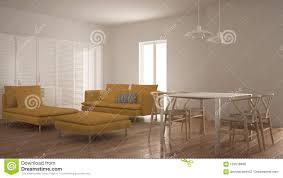 modernes sauberes wohnzimmer mit schiebetür und speisetisch
