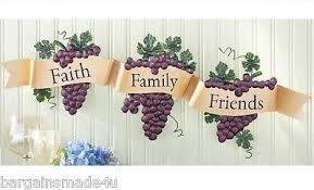 Grape Decor For Kitchen Vineyard Grapes 3d Metal Wall Art Hanging Banner Grapevine Home