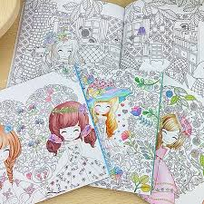 96 Pages Beautiful Flower Girl Antistress Coloring Books For Adults Kids Children Relieve Stress Secret Garden Painting Book