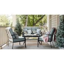 Garden Treasure Patio Furniture by Garden Treasures 2 Piece Cascade Creek Black Steel Patio Loveseat