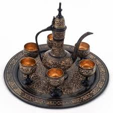 Little India Antique Black Royal Wine Set Pure Brass Handicraft 182 This Handcrafted Look Real And Usable Is Made Of