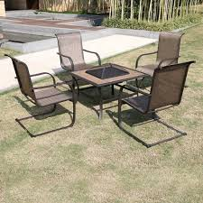 Patio Furniture Conversation Sets With Fire Pit by Winnfield 5 Piece Patio Conversation Set With Fire Pit Seats 4