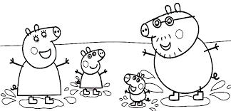 Peppa Family Muddy Puddles Coloring Page Pig Party Ideas More Pages