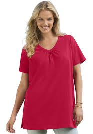 top in tunic length the perfect cotton v neck with shirring