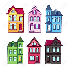 100 Victorian Property Old Houses Vector Illustration Set Colorful Hand