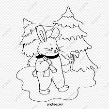 Imagen Para Colorear Navidad Conejo Blanco Navidad