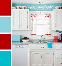Retro Style White Kitchen With Touches Of Turquoise And Red I Still Even Have The Cabinets