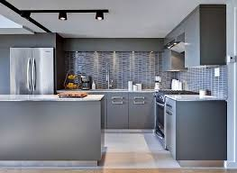 modern track lighting with grey colored kitchen cabinet for small