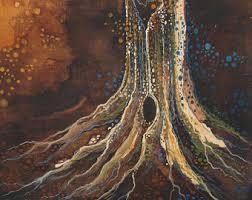 Tree Stump Watercolor Painting Wood Fire Earthy Nature Illustration Handmade OOAK Art Hippie