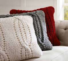 chunky cable handknit pillow cover pottery barn