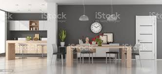 moderne esszimmer mit küche stockfoto und mehr bilder anrichte