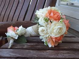 Coral Rose And Champagne Rustic Wedding Bouquet Silk Bridal