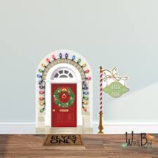 Christmas Elf Door Decal Elf Prop Wall Decal Set Reusable Etsy