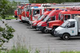 100 Red Fire Trucks KAMCHATKA PENINSULA RUSSIA AUGUST 7 2019 Many Different