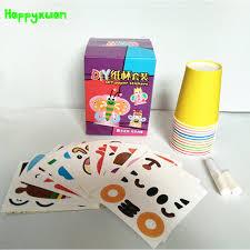 Happyxuan 12pcs Set DIY Paper Cup Craft Kits Kids Cartoon Animal Gift Box Creative Kindergarten