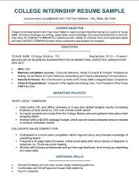 Objective Resume Internship Computer Science Writing Sample