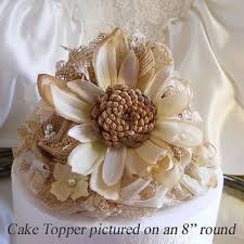 Rustic Vintage Style Sunflower Wedding Cake Topper With Matching Burlap Flowers Lace Fabrics