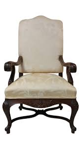 High Back French Provincial Style Armchair, Upholstered, Carved, 53